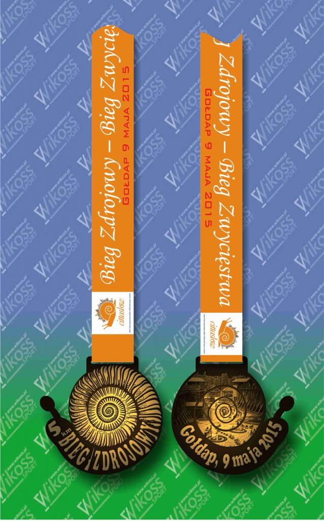 Bieg Zdrojowy_Gołdap 2015_medal+szarfa